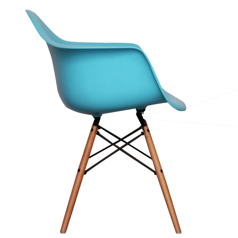 CHARLES EAMES Style Pearl Blue Plastic Retro DAW Armchair - directhomeliving