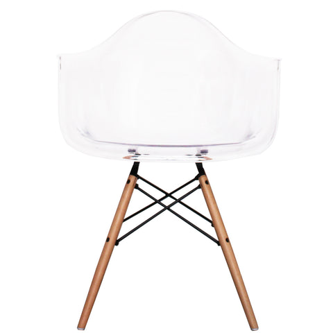 CHARLES EAMES Style Clear Plastic Retro DAW Armchair - directhomeliving
