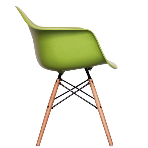 CHARLES EAMES Style Green Plastic Retro DAW Armchair - directhomeliving