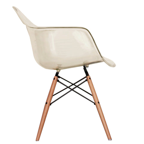 CHARLES EAMES Style Ghost Smoke Plastic Retro DAW Armchair - directhomeliving