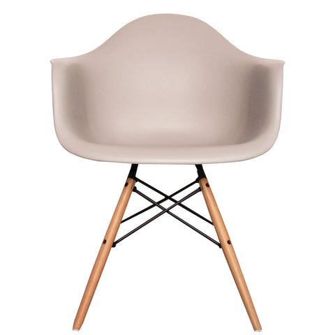 CHARLES EAMES Style Light Grey Plastic Retro DAW Armchair - directhomeliving