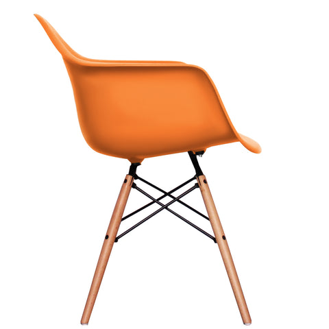 CHARLES EAMES Style New Orange Plastic Retro DAW Armchair - directhomeliving