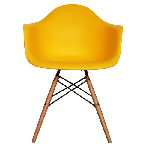 CHARLES EAMES Style Yellow Plastic Retro DAW Armchair - directhomeliving