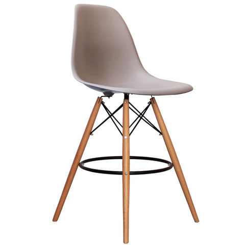 CHARLES EAMES Style Light Grey Plastic Retro DSB Bar Stool - directhomeliving