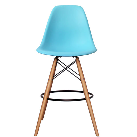 CHARLES EAMES Style Pearl Blue Plastic Retro DSB Bar Stool - directhomeliving