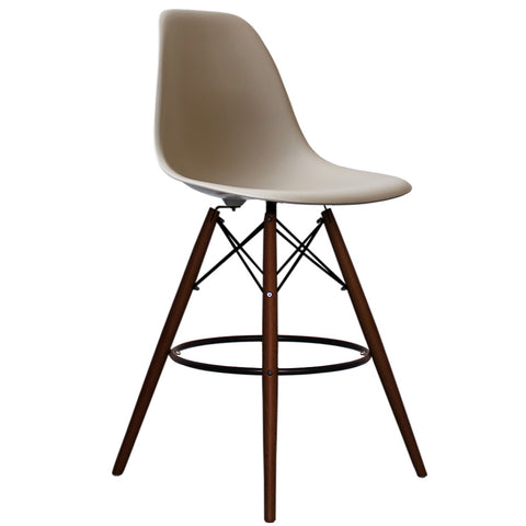 CHARLES EAMES Style Beige Plastic Retro Walnut DSB Bar Stool - directhomeliving