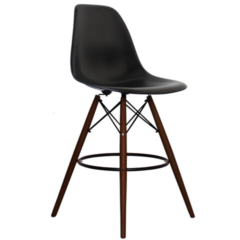 CHARLES EAMES Style Black Plastic Retro Walnut DSB Bar Stool - directhomeliving
