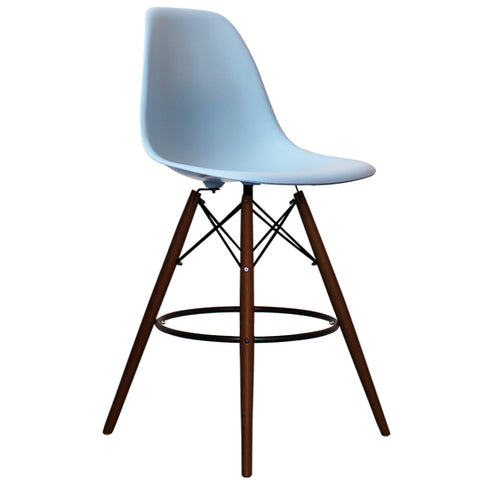 CHARLES EAMES Style Blue Plastic Retro Walnut DSB Bar Stool - directhomeliving