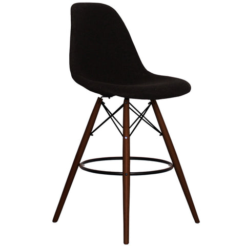 CHARLES EAMES Style Black Fabric Retro Walnut DSB Bar Stool - directhomeliving