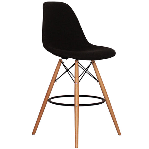 CHARLES EAMES Style Black Fabric Retro DSB Bar Stool - directhomeliving
