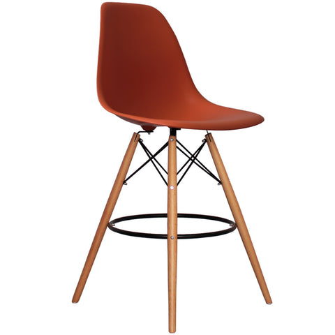 CHARLES EAMES Style Brick Red Plastic Retro DSB Bar Stool - directhomeliving