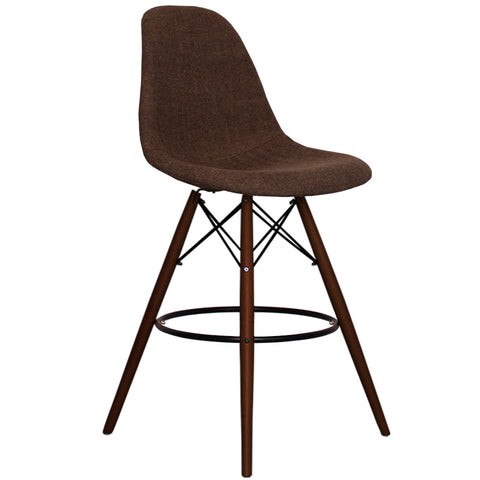 CHARLES EAMES Style Brown Fabric Retro Walnut DSB Bar Stool - directhomeliving