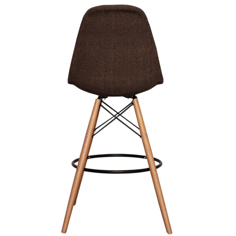 CHARLES EAMES Style Brown Fabric Retro DSB Bar Stool - directhomeliving