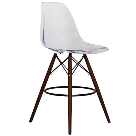 CHARLES EAMES Style Clear Plastic Retro Walnut DSB Bar Stool - directhomeliving