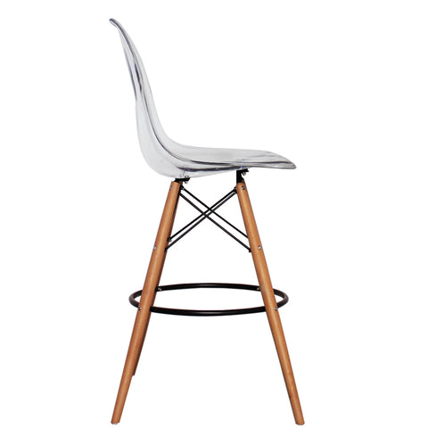 CHARLES EAMES Style Clear Plastic Retro DSB Bar Stool - directhomeliving