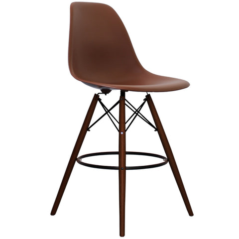 CHARLES EAMES Style Coffee Plastic Retro Walnut DSB Bar Stool - directhomeliving