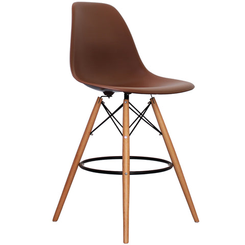CHARLES EAMES Style Coffee Plastic Retro DSB Bar Stool - directhomeliving