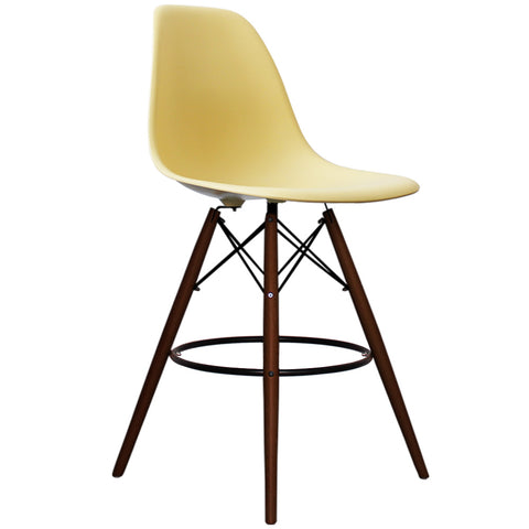 CHARLES EAMES Style Cream Plastic Retro Walnut DSB Bar Stool