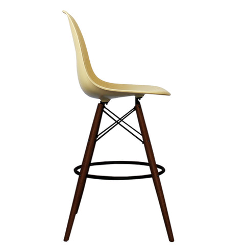 CHARLES EAMES Style Cream Plastic Retro Walnut DSB Bar Stool - directhomeliving