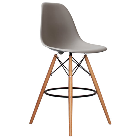 CHARLES EAMES Style Cool Grey Plastic Retro DSB Bar Stool - directhomeliving
