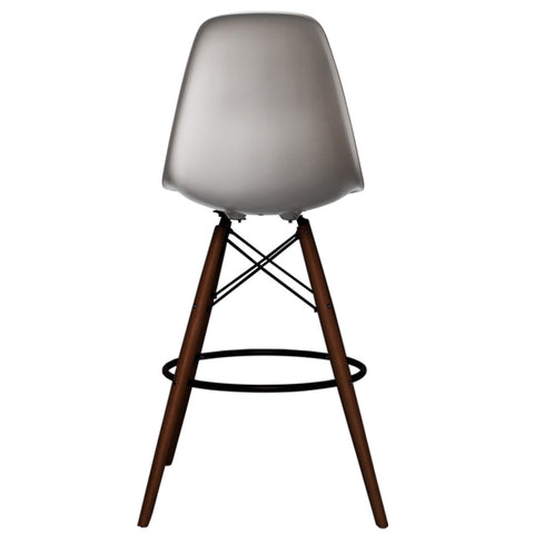 CHARLES EAMES Style Cool Grey Plastic Retro Walnut DSB Bar Stool