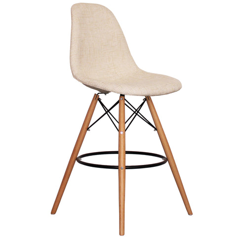 CHARLES EAMES Style Cream Fabric Retro DSB Bar Stool - directhomeliving