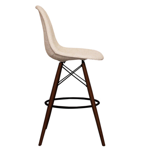 CHARLES EAMES Style Cream Fabric Retro Walnut DSB Bar Stool - directhomeliving