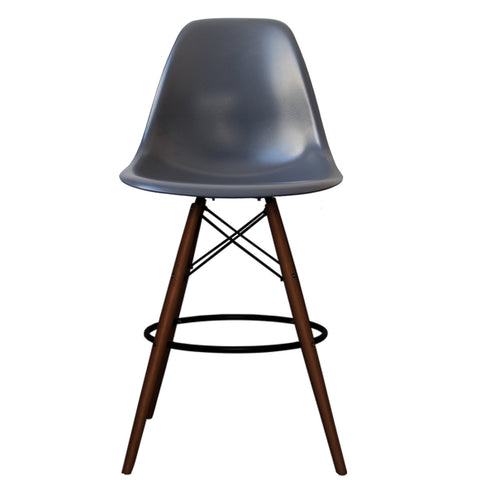 CHARLES EAMES Style Dark Grey Plastic Retro Walnut DSB Bar Stool - directhomeliving