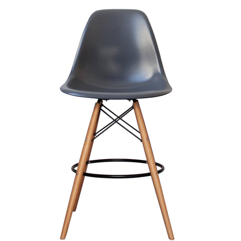 CHARLES EAMES Style Dark Grey Plastic Retro DSB Bar Stool - directhomeliving