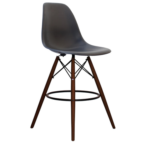 CHARLES EAMES Style Dark Grey Plastic Retro Walnut DSB Bar Stool