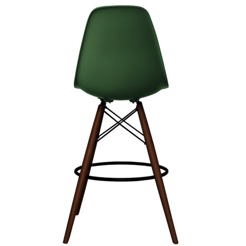 CHARLES EAMES Style Emerald Plastic Retro Walnut DSB Bar Stool - directhomeliving