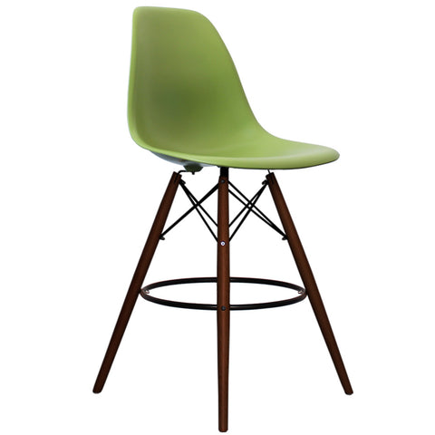 CHARLES EAMES Style Green Plastic Retro Walnut DSB Bar Stool