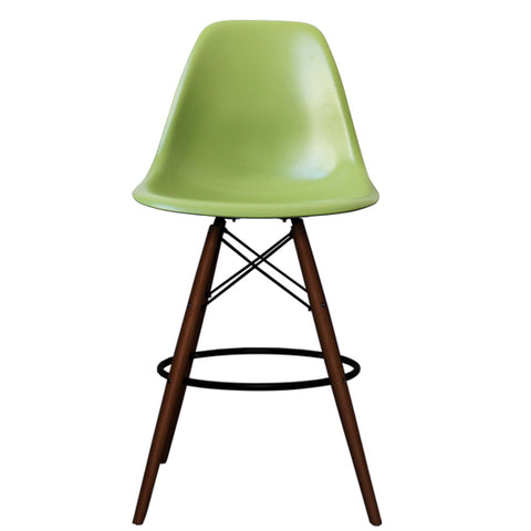 CHARLES EAMES Style Green Plastic Retro Walnut DSB Bar Stool - directhomeliving