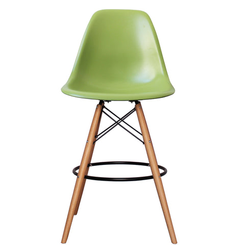 CHARLES EAMES Style Green Plastic Retro DSB Bar Stool - directhomeliving