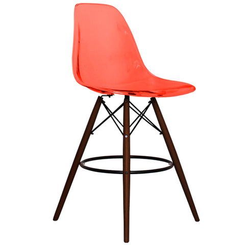 CHARLES EAMES Style Ghost Red Plastic Retro Walnut DSB Bar Stool - directhomeliving