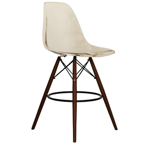 CHARLES EAMES Style Ghost Smoke Plastic Retro Walnut DSB Bar Stool - directhomeliving