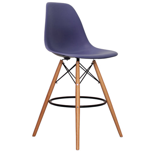 CHARLES EAMES Style Ink Blue Plastic Retro DSB Bar Stool - directhomeliving