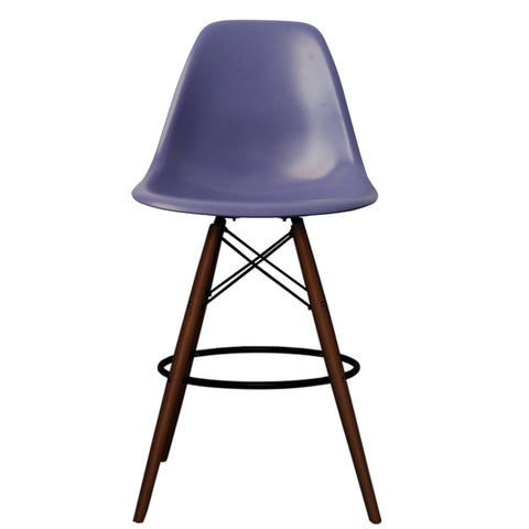 CHARLES EAMES Style Ink Blue Plastic Retro Walnut DSB Bar Stool - directhomeliving