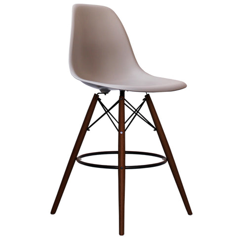 CHARLES EAMES Style Light Grey Plastic Retro Walnut DSB Bar Stool - directhomeliving