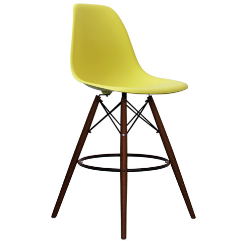 CHARLES EAMES Style Lemon Plastic Retro Walnut DSB Bar Stool