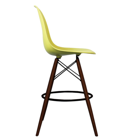 CHARLES EAMES Style Lemon Plastic Retro Walnut DSB Bar Stool - directhomeliving