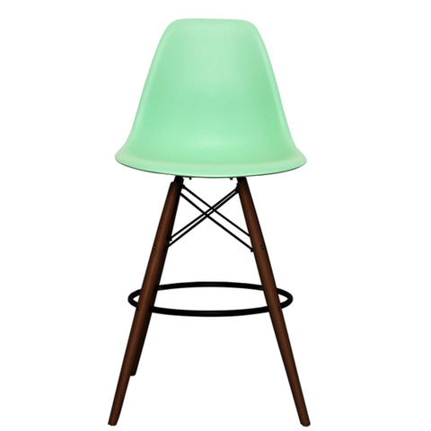 CHARLES EAMES Style Peppermint Plastic Retro Walnut DSB Bar Stool - directhomeliving