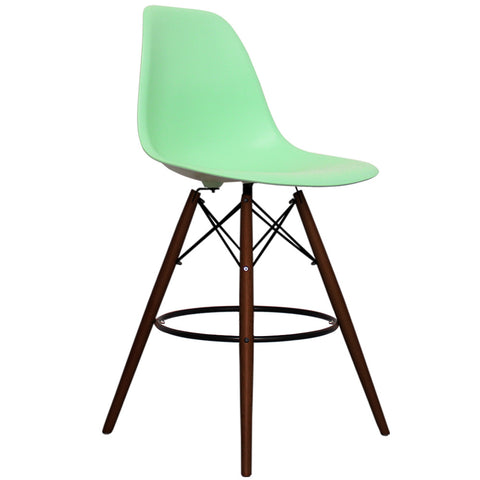 CHARLES EAMES Style Peppermint Plastic Retro Walnut DSB Bar Stool