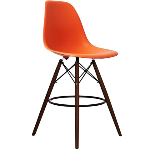 CHARLES EAMES Style Orange Plastic Retro Walnut DSB Bar Stool - directhomeliving