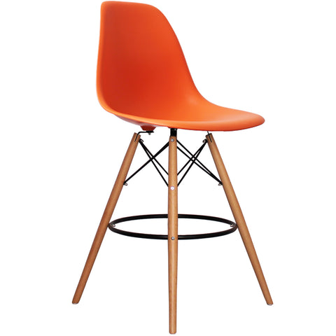 CHARLES EAMES Style Orange Plastic Retro DSB Bar Stool - directhomeliving