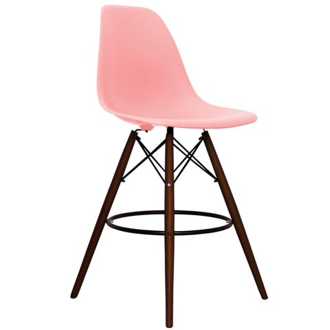 CHARLES EAMES Style Pastel Pink Plastic Retro Walnut DSB Bar Stool - directhomeliving