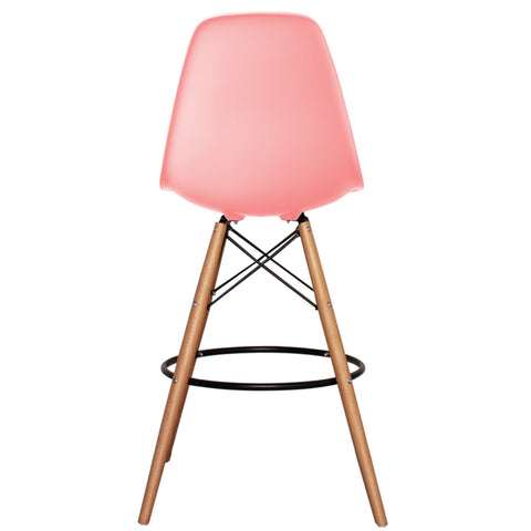 CHARLES EAMES Style Pastel Pink Plastic Retro DSB Bar Stool - directhomeliving