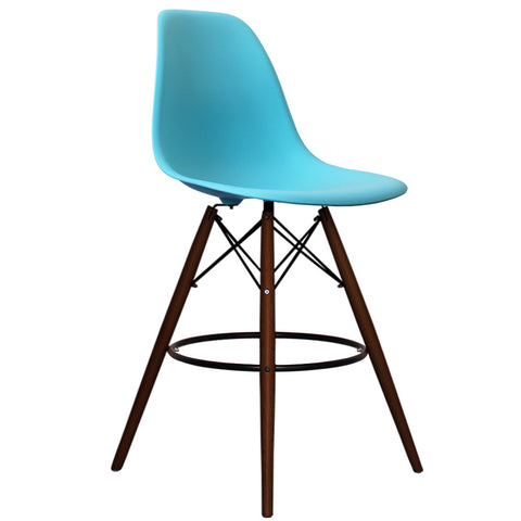 CHARLES EAMES Style Pearl Blue Plastic Retro Walnut DSB Bar Stool - directhomeliving