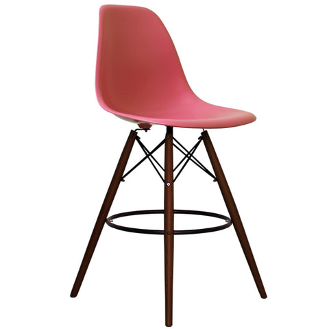 CHARLES EAMES Style Pink Plastic Retro Walnut DSB Bar Stool - directhomeliving