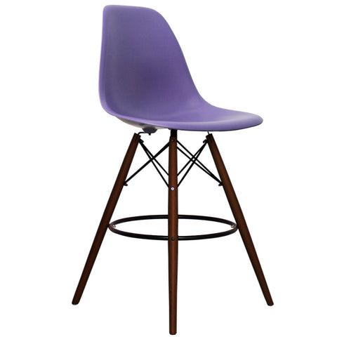 CHARLES EAMES Style Purple Plastic Retro Walnut DSB Bar Stool - directhomeliving